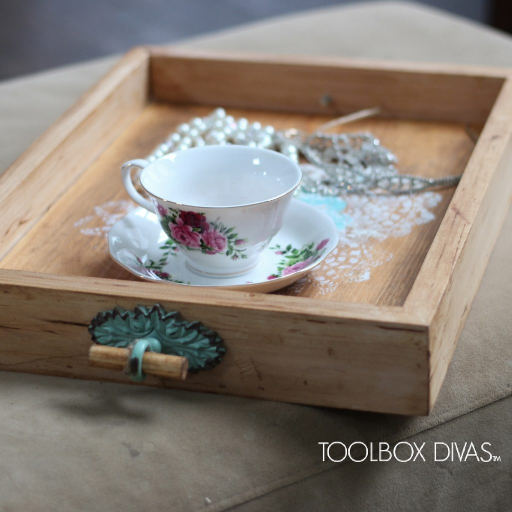 wood serving tray with vintage handles