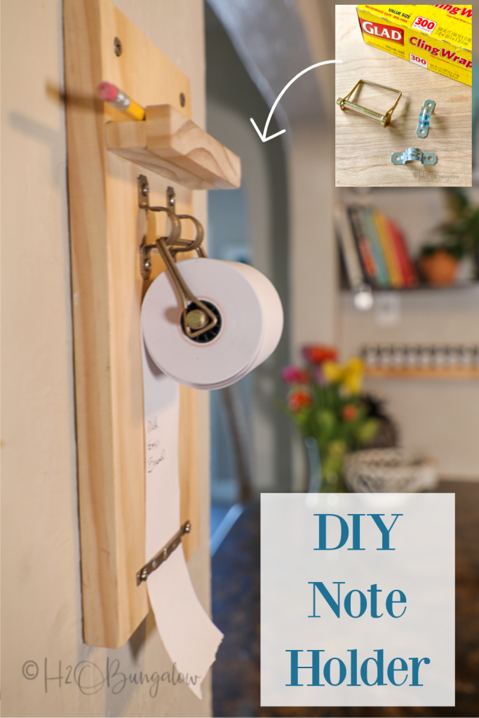 How to make a wall mounted paper roll note holder. Just like the pricier store versions but this DIY hanging note holder costs lots less!