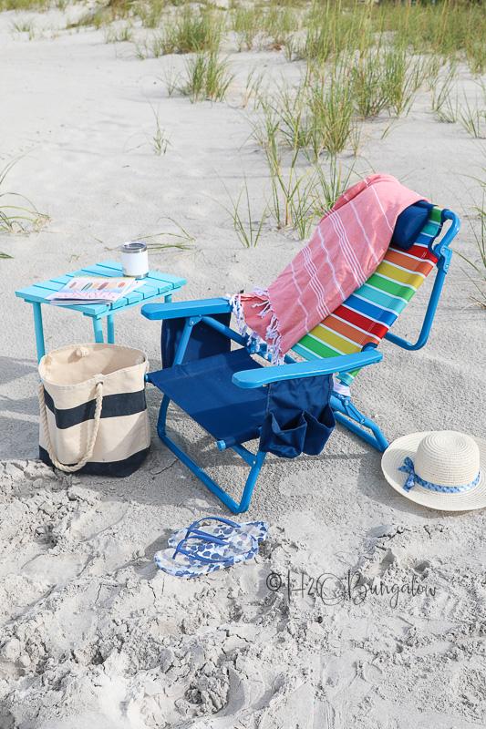hand made small folding table on beach