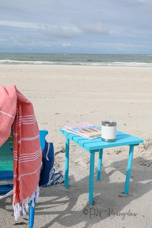 small DIY folding table on beach
