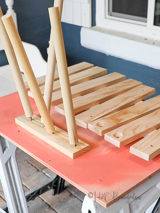 portable table pieces to be painted blue