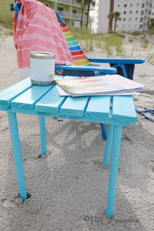 close up of DIY small folding table on beach