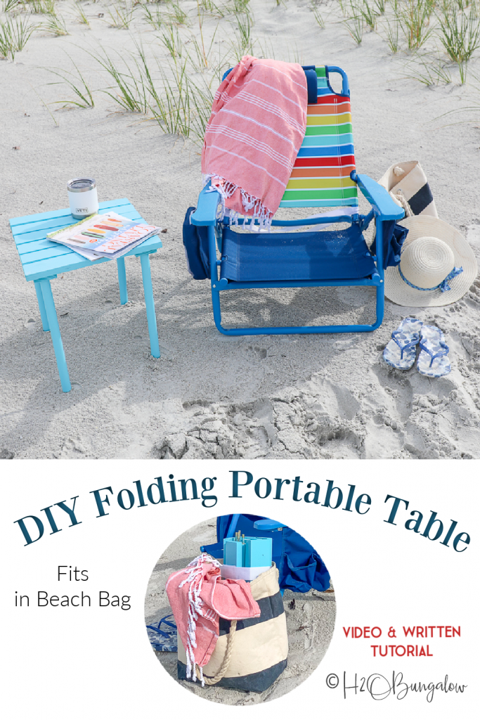 Written and video tutorial on how to make a DIY small folding portable table. Use this mini portable beach table anywhere, it fits in a small beach bag, is collapsible and easy to put together.  #beachtable #diytable #QuickFinish #H2OBungalow