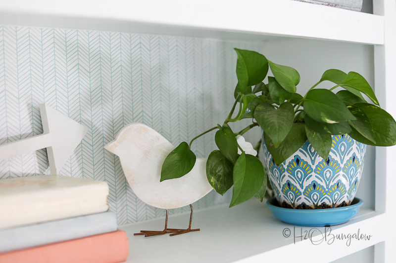 shelf back decorated with peel and stick drawer liner