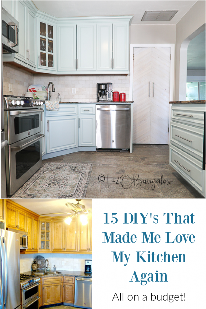 Today, I'm sharing my DIY blue painted kitchen cabinet reveal and kitchen tour with you! My DIY blue painted kitchen cabinet reveal makeover has lots of DIY projects, including updating our island, I added lots of organization like new spice racks, updated the pantry a new faux chevron pantry door.
