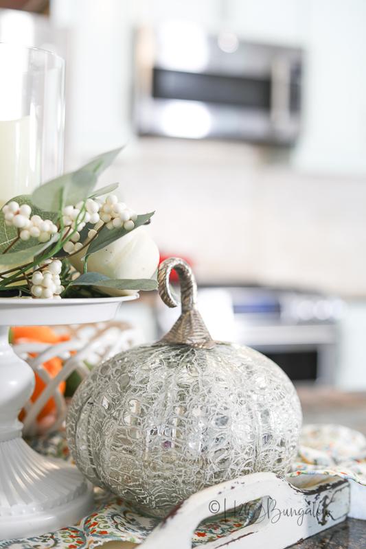 pumpkin on kitchen counter