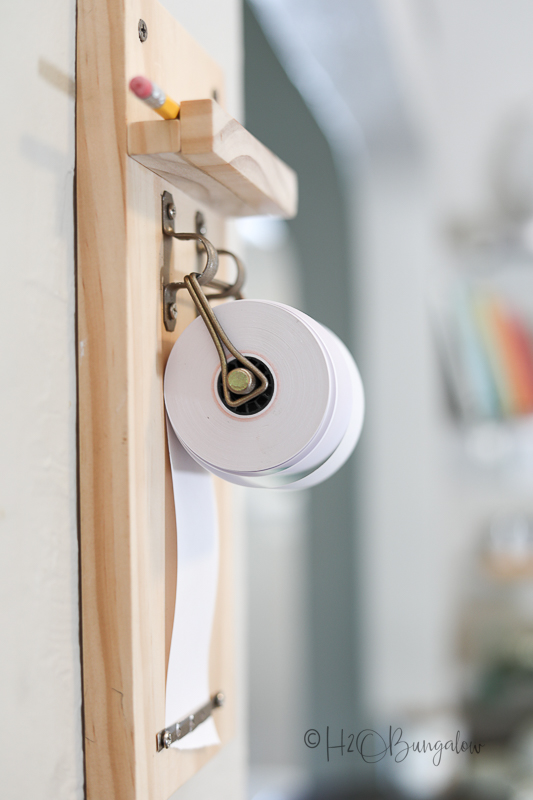 wall hanging notepad holder in kitchen makeover