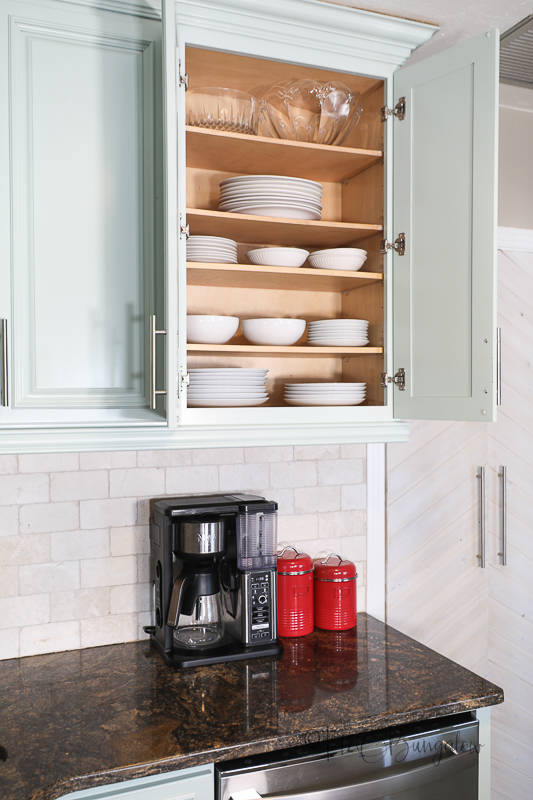 extra shelves in painted cabinet for dishes
