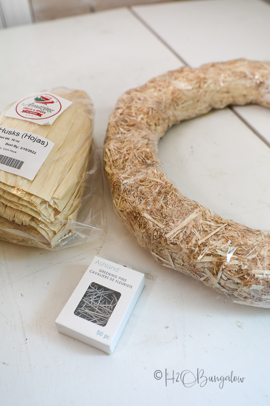 supplies needed to make a corn husk wreath for fall