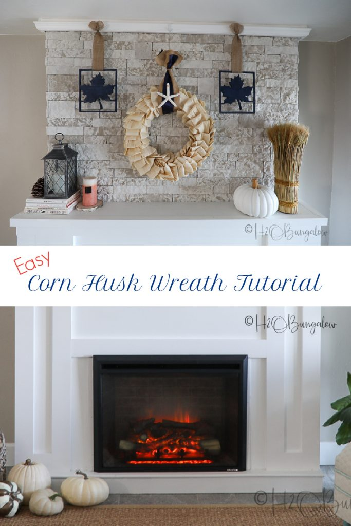How to make a corn husk wreath for fall in a few simple steps. Make a corn husk wreath coastal, farmhouse or fall themed. See my easy fall wreath ideas in this tutorial.