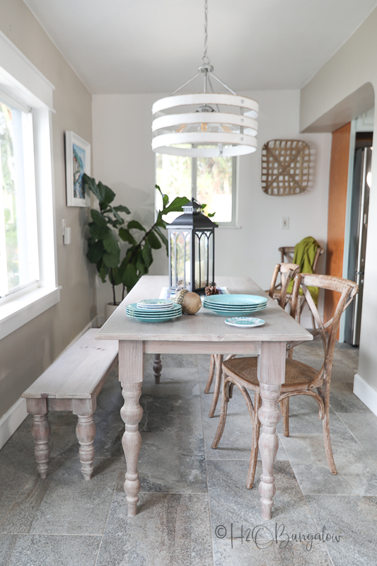newly built table and bench in dining area