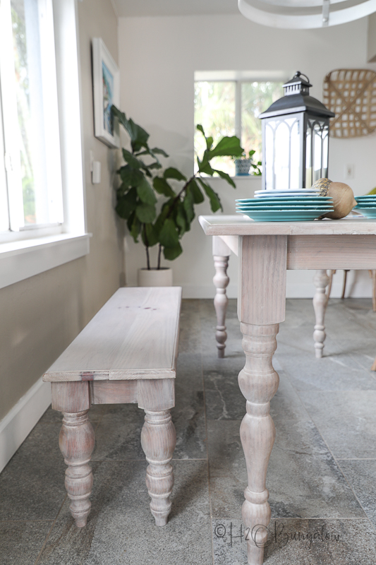 finished DIY dining table and bench