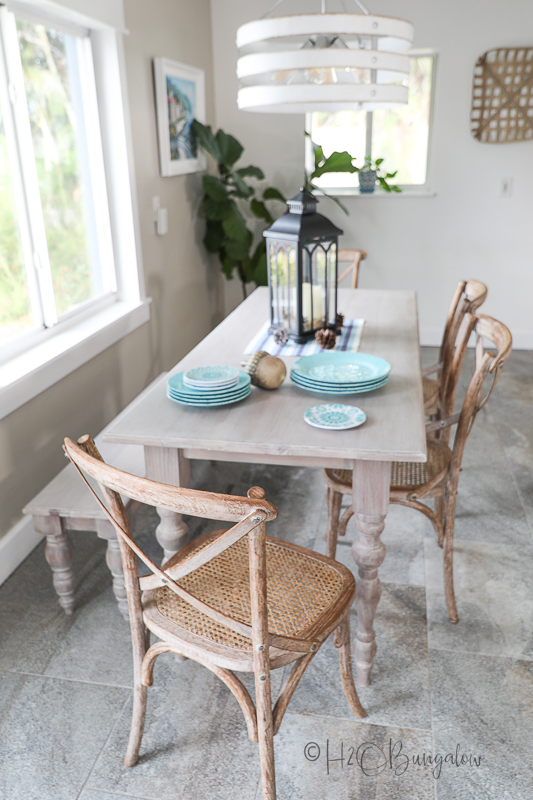 Finished DIY dining table with bench