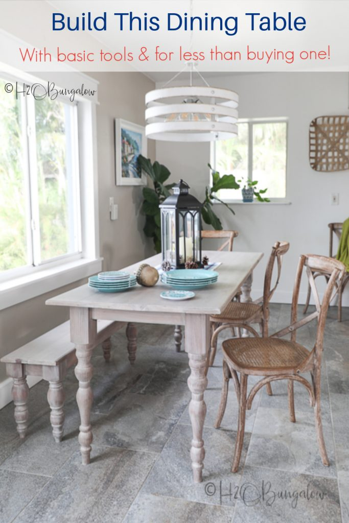 How to build a dining table with a bench for small spaces. You only need a few basic tools. Make this budget friendly DIY kitchen table to seat four or six people