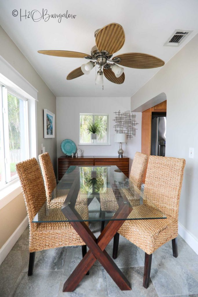 dining area with too large of a table